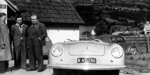 The 1948 Gmünd 356, with Erwin Komenda, Ferry Porsche and Ferdinand Porsche.