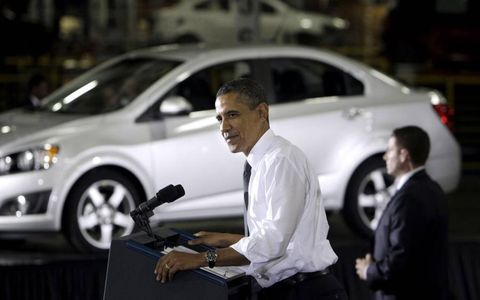 THE PRESIDENT SPEAKS // President Barack Obama spoke at the General Motors Orion assembly plant in Orion Township, Mich. The U.S. government said in mid-December it will sell its remaining stake in GM in the next year or so, winding down a $50 billion bailout that saved the company, but also set off a heated debate about government intervention in private business.