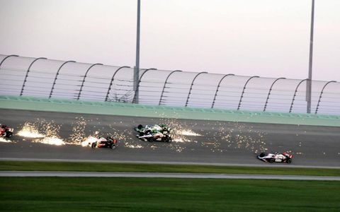 Sparks fly during the 2010 Cafes do Brasil Indy 300 at Homestead-Miami Speedway, Oct. 2.