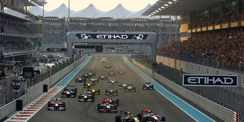 The start of the 2010 Formula One Abu Dhabi Grand Prix, Nov. 14.