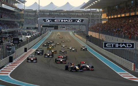 The start of the 2010 Formula One Abu Dhabi Grand Prix, Nov. 14.