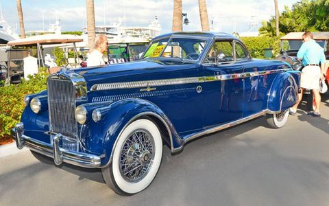 The 1930 Stutz two-door coupe of William T. Gacioch awaits its turn in the spotlights of Ocean Reef's 17th Annual Vintage Weekend in Key Largo, FL. The long trunk was custom built to accommodate the luggage belonging to the wife of the original owner.