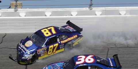 Joe Nemechek crashes at Daytona Beach on February 14, 2010