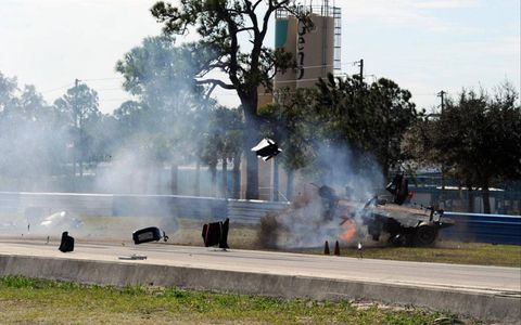#37 Intersport Racing Lola B06/10-AER flipping and on fire during crash in Sebring, Fla. on March 20, 2010