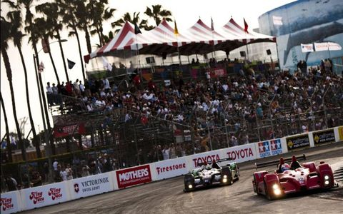Genoa Racing prototype leads Tom Sutherland in Long Beach, California on April 18