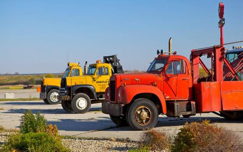 Some old tow trucks in Illinois.