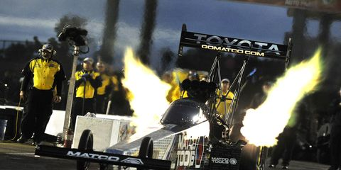 Points leader Antron Brown is atop the NHRA Top Fuel leaderboard in Topeka after a fast run Friday night.