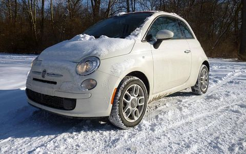 The Fiat 500 C Pop Cabrio was at home in the snow.
