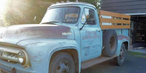 This 1953 Ford F-350 pickup is featured on Bring a Trailer. It was used as a supply truck for a cropdusting operation.