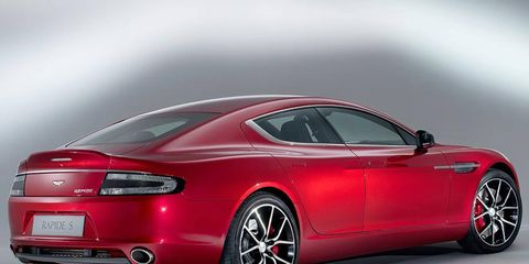 A rear view of the 2014 Aston Martin Rapide S.