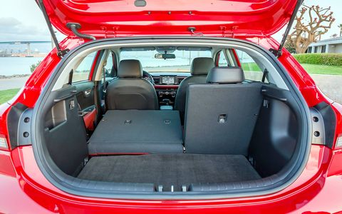 The 2018 Kia Rio EX 5-door has 17.4 cubic feet of cargo space; 32.8 cubic feet if you fold down the rear seat.