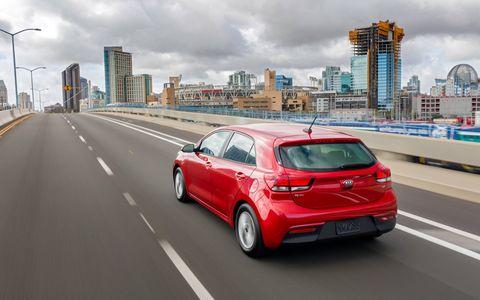 The Kia Rio EX 5 door has a 1.6-liter I4 producing 130 hp and 119 lb-ft of torque.
