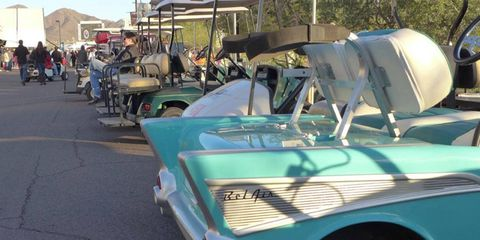 The Barrett-Jackson auction grounds are sprawling. Golf carts are a popular mode of transportation.