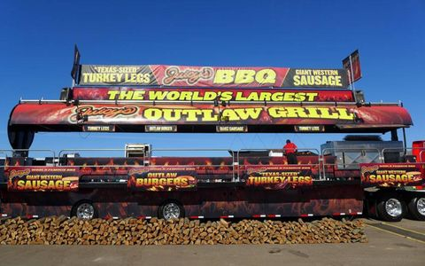 The sign said this outlaw grill was the world's largest, and we weren't in a position to argue.
