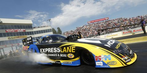 Matt Hagan earned the No. 1 qualifying position for Sunday's Funny Car action at the NHRA Kansas Nationals.