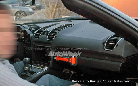 A look at a prototype for the redesigned Porsche Boxster.