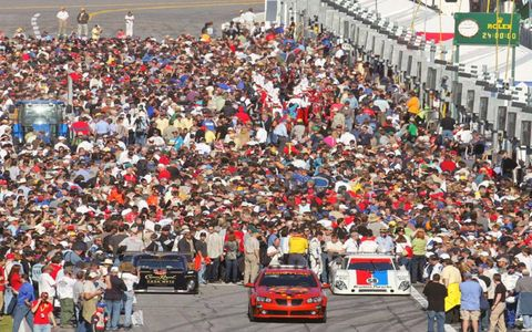 Fans throng the grid before the Rolex 24 at Daytona
