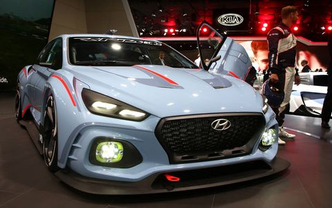 Hyundai brought its race cars to the Paris auto show.
