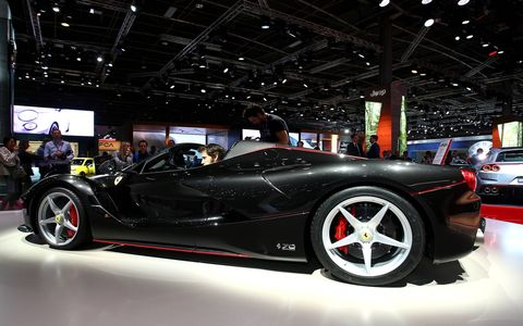 Ferrari showed off its limited edition Ferrari LaFerrari Aperta in Paris.