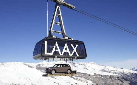 Great Heights: As part of its sponsorship of snowboard maker Burton, Mini used a cable car to transport a Mini Countryman to the top of the run at Laax, Switzerland, for the Burton Global Open Series event.