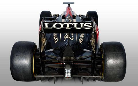 The Lotus E21 from the back.