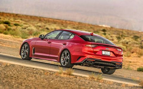 The 2018 Kia Stinger gets a 255-hp turbocharged four or a 365-hp turbocharged six-cylinder.