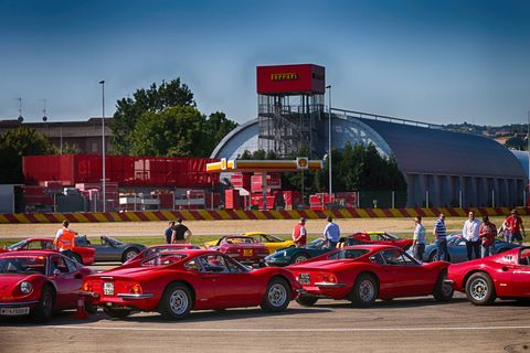 More than 150 Dinos descended on Maranello June 30 to celebrate the 50th anniversary of the Dino's road debut, which happened in March 1968. The cars first gathered at the Ferrari museum in Maranello, then took a parade lap around Fiorano. What a day!