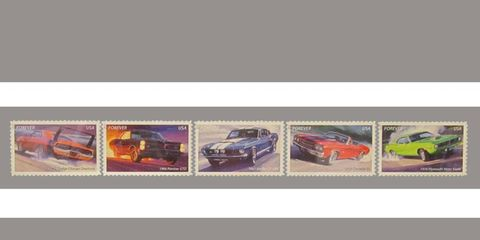 These may well be the upcoming muscle car stamps from the USPS.