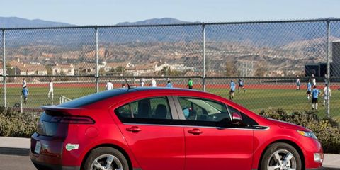 The Chevy Volt can go up to 40 miles on battery power alone when fully charged.