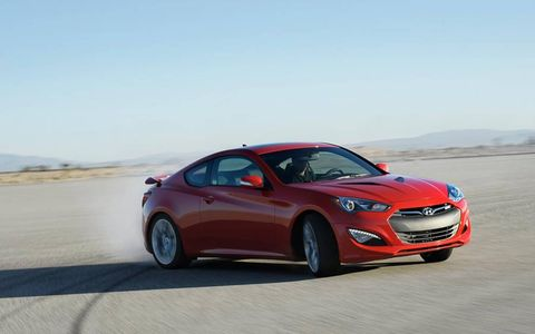 The Hyundai Genesis coupe 3.8 R-spec is powered by a 3.8-liter V6 making 348 hp and 295 lb-ft of torque.