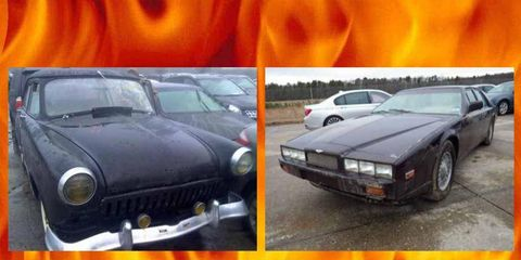 Superstorm Sandy barely left a (visible) mark on this Aston Martin Lagonda and GAZ Volga, making them IDEAL investment opportunities ... from hell!