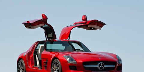 The Mercedes-Benz SLS AMG is an attention grabber, especially with the doors up.