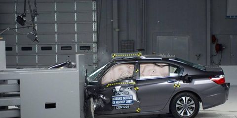 The 2013 Honda Accord coupe and sedan performed well in a new test that assesses front corner collisions.