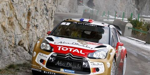 Sebastien Loeb, above, leads Sebastien Ogier by 1 minute, 47 seconds heading into the final day's action at Monte Carlo.
