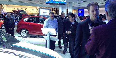 NASCAR Sprint Cup Series champion and Detroit-area native Brad Keselowski, right, visited the North American International Auto Show in Detroit on Wednesday.
