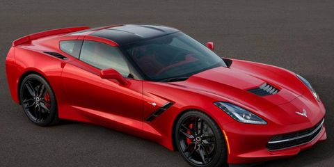 The 2014 Chevrolet Corvette Stingray is powered by a 450-hp V8. It pulls 1g in lateral grip on the race track.