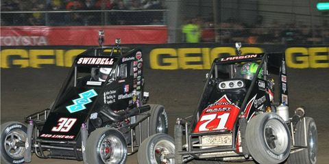 Kevin Swindell, shown here at the 2012 event, won his fourth consecutive Chili Bowl in Tulsa on Saturday night.
