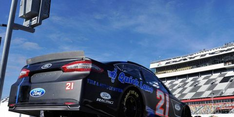 Trevor Bayne posted the best speed during testing at Daytona International Speedway on Friday at 199.650 mph.