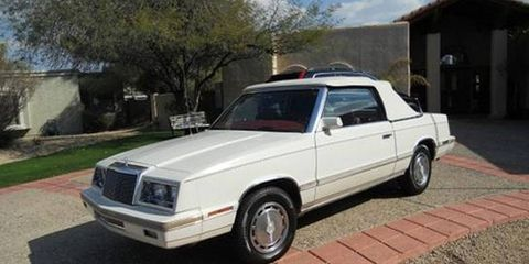 We just bought a 1982 Chrysler LeBaron convertible, and if we can't sell it at auction we'll be driving it back to Detroit.