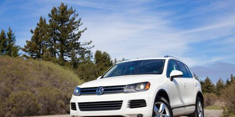 The 2012 Volkswagen Touareg TDI is powered by a 3.0-liter turbocharged diesel making 225 hp and 406 lb-ft of torque.