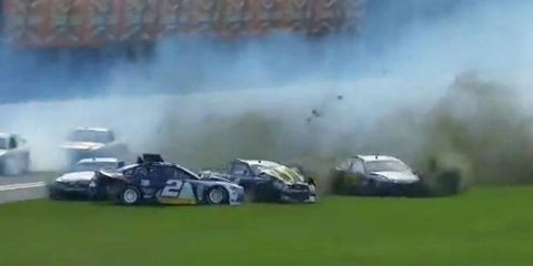 The No. 99 Ford Fusion of Carl Edwards was one of 12 cars caught up in a crash at Daytona on Friday.