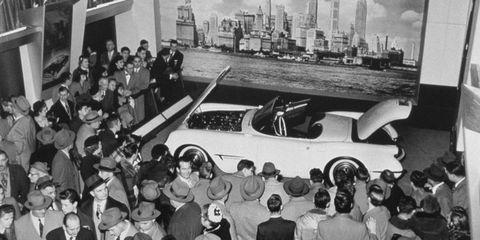 The Corvette prototype drew big crowds at the 1953 GM Motorama in New York City.