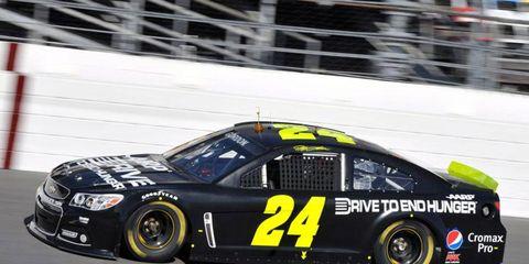 Jeff Gordon puts his new Chevy SS through testing at Daytona on Thursday.