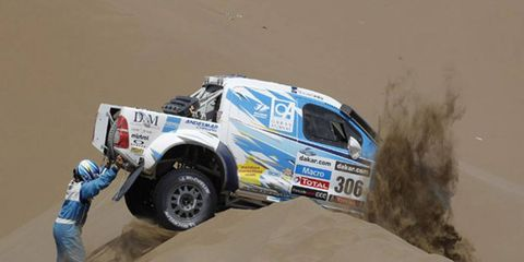 Lucio Ezequiel Alvarez of Argentina found the going a bit rough for his Toyota at the Dakar Rally during Thursday's sixth stage.