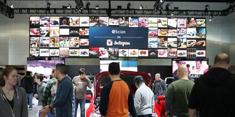 Scion's displays -- the setup from the 2012 Los Angeles Auto Show is shown here -- blend cars and technology.
