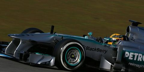 Lewis Hamilton is getting used to his new team at Mercedes after running last year for McLaren.