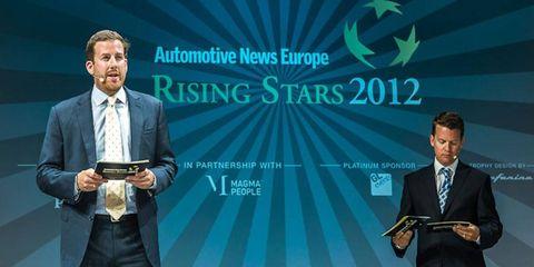 Autoweek publisher KC Crain and Automotive News associate publisher Jason Stein, shown hosting the 2012 Automotive News Europe Rising Stars event.