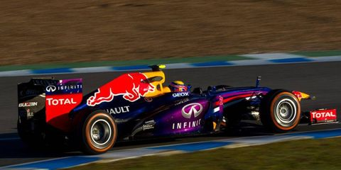 Mark Weber puts the Infiniti Red Bull Racing RB9 through its paces on Wednesday at Jerez, Spain.