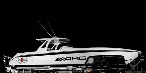 We'd call the AMG-branded 42-foot Cigarette Huntress a pretty weak product tie-in attempt, but it has a top speed on the water of 78 mph.