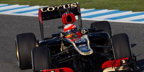 Romain Grosjean set a quick pace in the Lotus E21 on Wednesday at Jerez.
